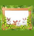 cute rabbit on wooden frame vector image vector image