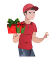 deliveryman courier with gifts isolated vector image vector image