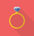 Diamond ring icon flat style vector image