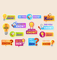 did you know speech bubbles with question vector image