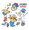 doodle set of cute christmas characters and things vector image