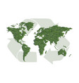ecology world map with sign of recycling vector image vector image