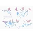 figure set multicolored flock flying birds on vector image vector image