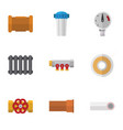 flat icon plumbing set of water filter drain vector image vector image