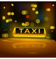 Glowing yellow taxi sign on the roof of the car in vector image vector image