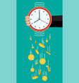 golden coins falling from clocks vector image vector image