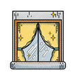 grated house window clean with curtains design vector image