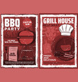 grill house barbecue meat party retro poster vector image vector image