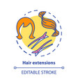hair extensions concept icon clip in tapes