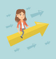 happy business woman flying on arrow to success vector image vector image