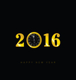happy new 2016 year with clock vector image vector image