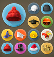 Hats long shadow icon set vector image