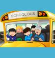 kids having fun in a school bus vector image vector image