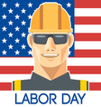 Labor Day design with a worker with safety helmet vector image vector image