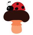 ladybug standing on mushroom on white background vector image vector image
