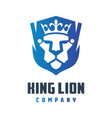 lion kings shield logo design vector image