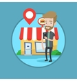 Man looking for restaurant in his smartphone vector image vector image