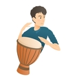 Man plays on drum icon flat style vector image vector image