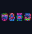 neon game signs retro video games night light vector image