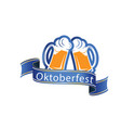 oktoberfest blue ribbon two glasses of beer vector image vector image