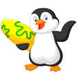 Penguin holding surfing board vector image vector image