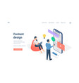 people working with content design isometric vector image vector image