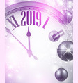 pink shiny 2019 new year background with clock vector image vector image