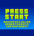 pixel font design stylized like in 8-bit vector image