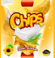 potato chips sour cream flavor design packaging vector image