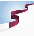 qatari flag wavy abstract background vector image