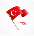 realistic 3d detailed turkey flag on flagpole vector image vector image