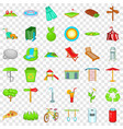 rest park icons set cartoon style vector image vector image