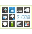 Restaurant utensil flat icons vector image