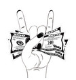 rock-n-roll hand gesture with crumpled one hundred vector image vector image