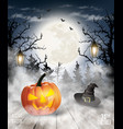scary halloween background with pumpkin and moon vector image vector image