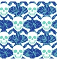 seamless pattern with color skulls vector image