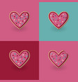 set of heart shape cookies valentine day concept vector image vector image