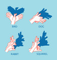 shadow theater hands gesture like flying bird vector image