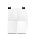 Sheet of paper folded in four hanging on binder cl vector image
