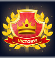 shield with victory banner crown and laurel vector image vector image