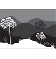 Silhouettes of tree on the mountain vector image