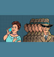 spies eavesdropping a telephone conversation women vector image vector image