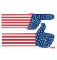 sports fan foam finger point and like usa flag vector image vector image