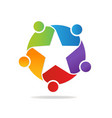 star shape teamwork people logo vector image vector image