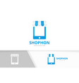store and phone logo combination market vector image vector image