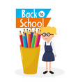 student girl wearing glasses and colors pencils vector image