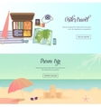 Summer holidays beach labels umbrella and castle vector image vector image