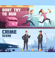 two horizontal banners on police theme vector image vector image