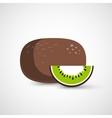 Vecor whole kiwi fruit and his sliced segment vector image