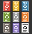 waste management labels set waste sorting vector image vector image